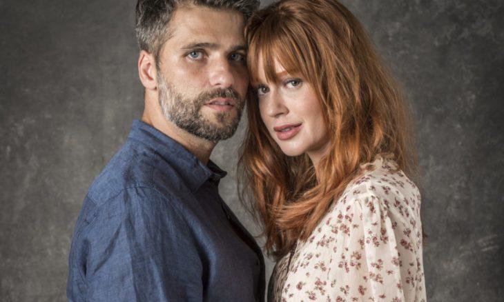 """Gabriel (Bruno Gagliasso) e Luz (Marina Ruy Barbosa) em """"O Sétimo Guardião"""""""