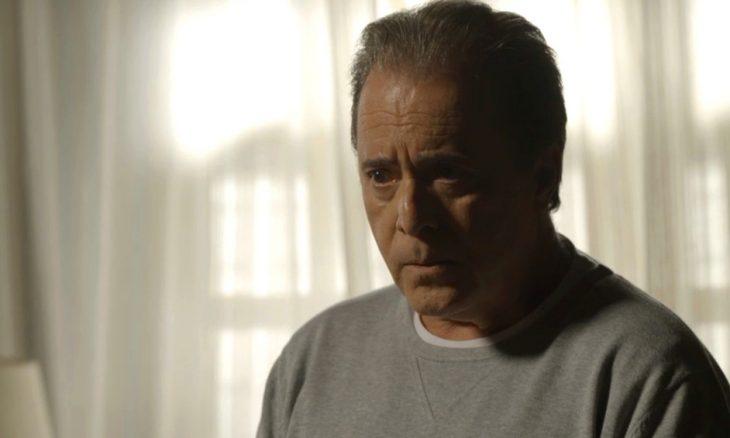 Olavo (Tony Ramos) procura Lourdes Maria (Bruna LInzmeyer) para tirar satisfação, na novela 'O Sétimo Guardião'