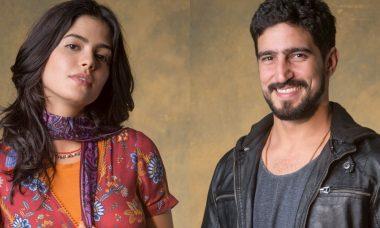 """Laila (Julia Dalavia) e Jamil (Renato Góes) em """"Órfãos da Terra"""""""