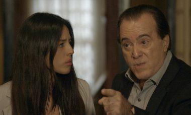 """Laura (Yanna Lavigne) e Olavo (Tony Ramos) em """"O Sétimo Guardião""""'"""