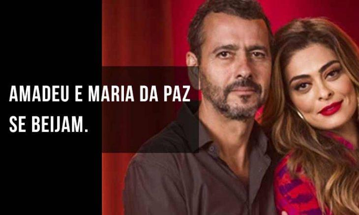 """Amadeu e Maria da Paz se beijam. Hoje (10) em """"A Dona do Pedaço"""""""
