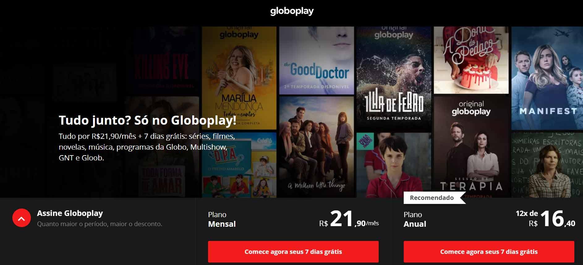 Globoplay. Reprodução de tela