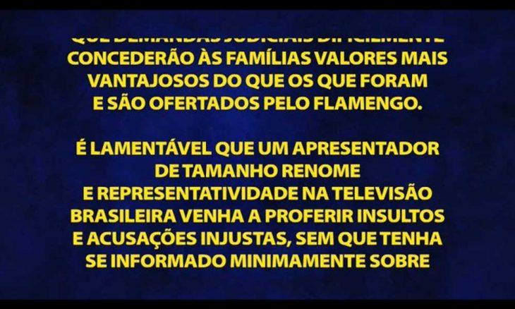Globo exibe direito de resposta do Flamengo no 'Domingão do Faustão'
