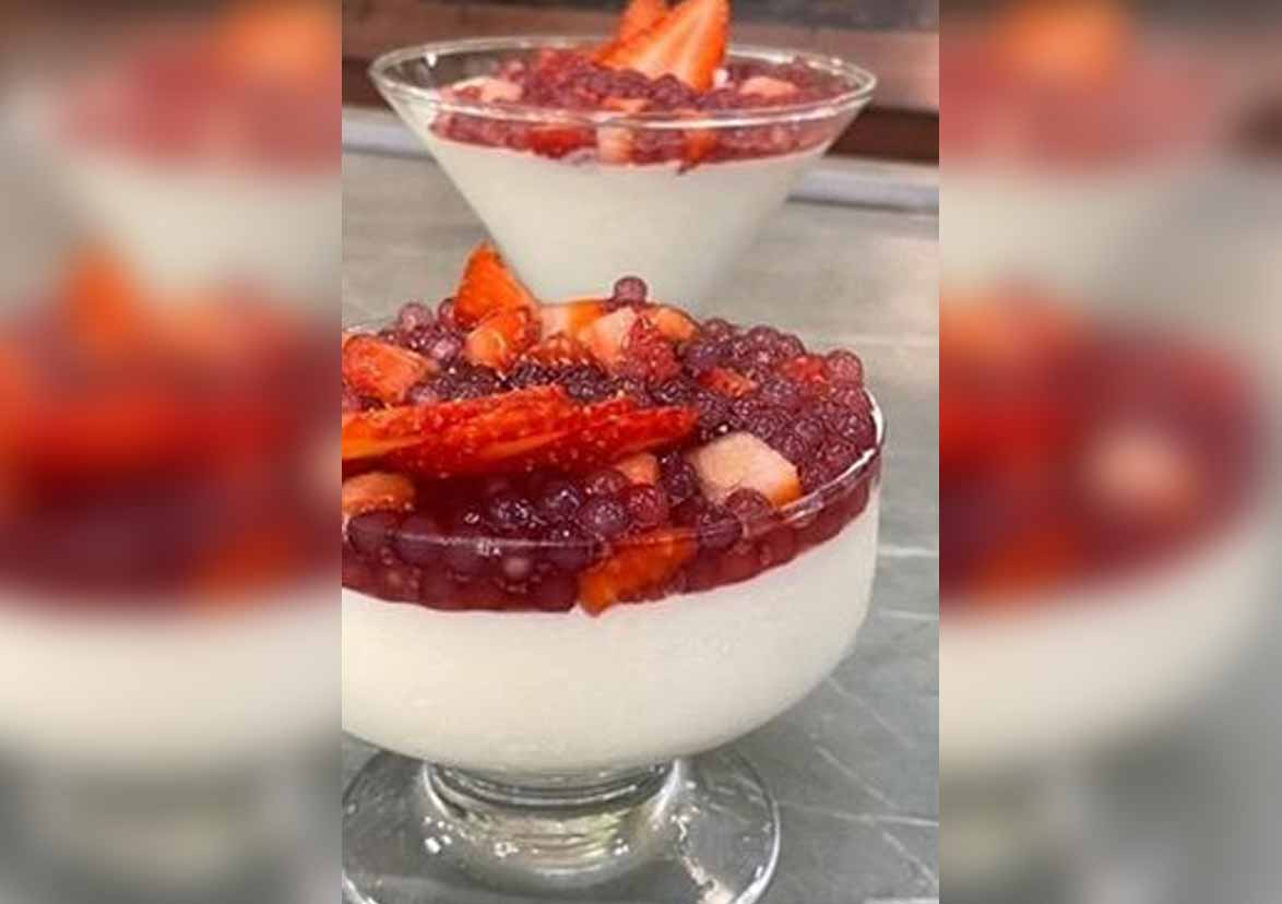 Creme de Iogurte com Sagu, receita do Mais Você desta terça (10) . Foto: Reprodução Instagram