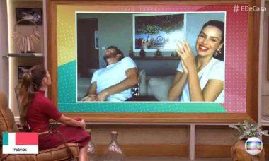 Patrícia Poeta confunde ator com Cléber Machado que cai na risada
