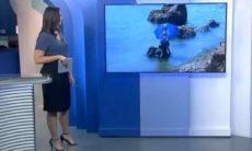 Repórter da Globo cai em rio durante entrada ao vivo em telejornal; veja o vídeo. Foto: Reprodução Twitter