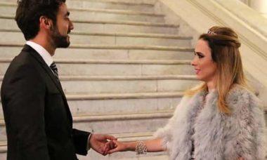 """Fedora comemora seu noivado com Leozinho nesta quarta (21) em """"Haja Coração"""""""