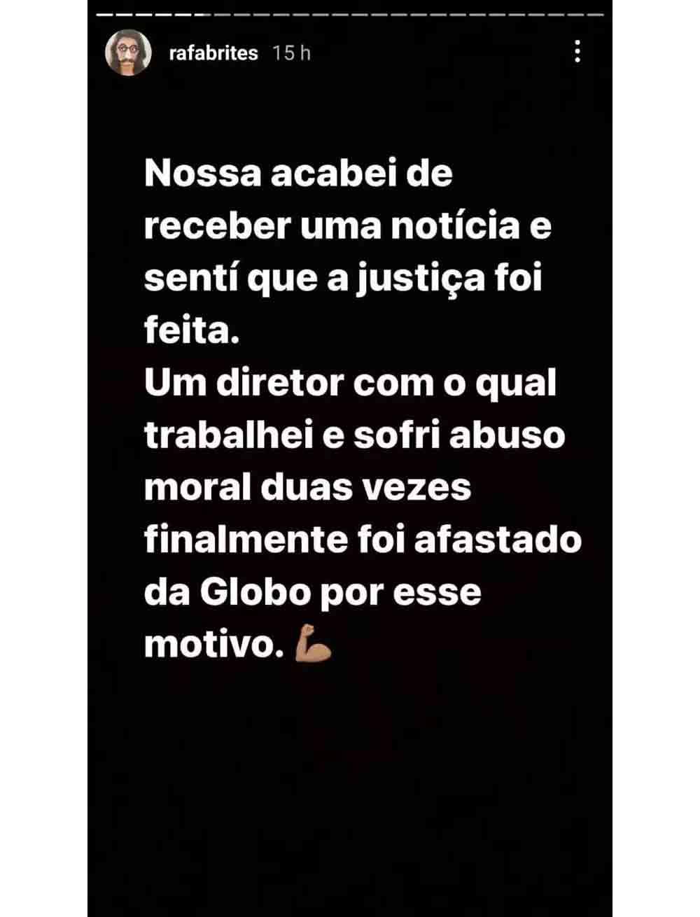 Rafa Brites comemora demissão de chefe da Globo que a abusou moralmente. Foto: reprodução Instagram