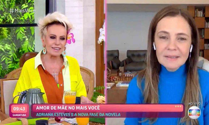 Adriana Esteves defende vilã de Amor de Mãe em conversa com Ana Maria Braga. Foto: Reprodução Twitter
