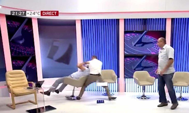 Político dá soco no rosto de ex-vice-ministro durante debate ao vivo na televisão. Foto: Reprodução Youtube